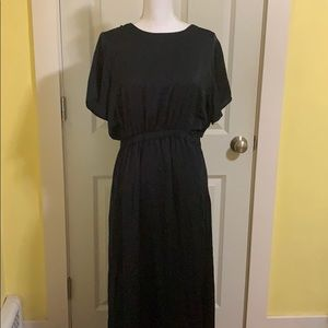 Navy blue short sleeve maxi dress NWT